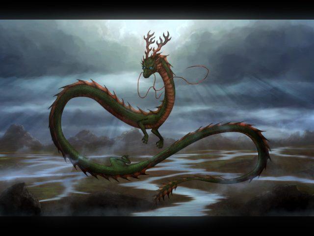 Фантазия дракона летит высоко от Земли мечтательно