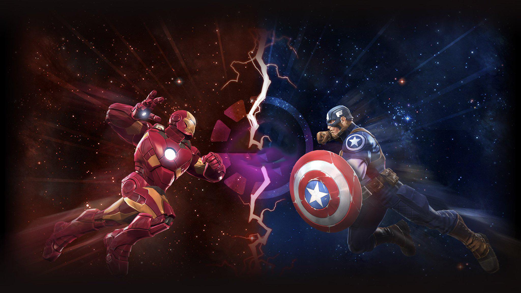 Железный человек против Капитана Америки произведения искусства обои скачать