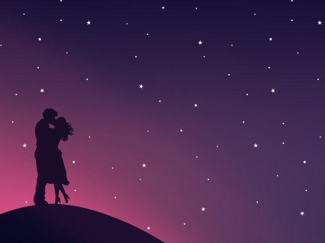 Романтический поцелуй пара любовь