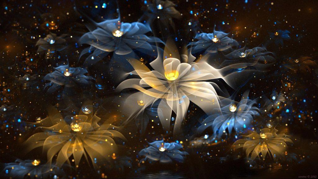Цветы сверкающее искусство абстракция обои скачать