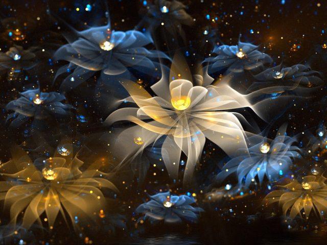 Цветы сверкающее искусство абстракция