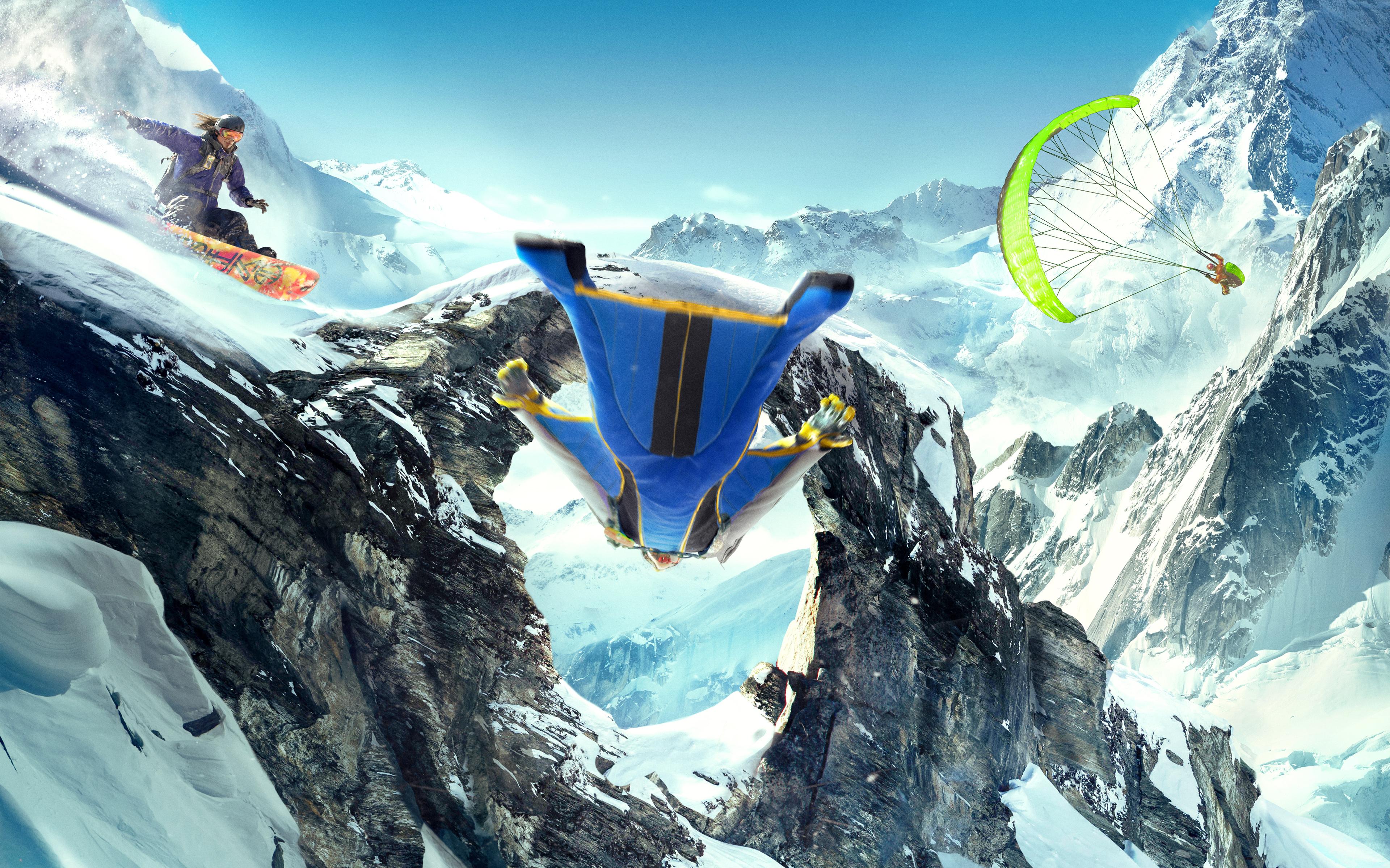Steep Wingsuit Snowboarding Paragliding обои скачать