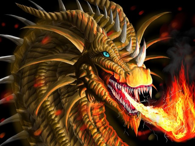 Фантазия Желтый дракон дышит огнем мечтательно