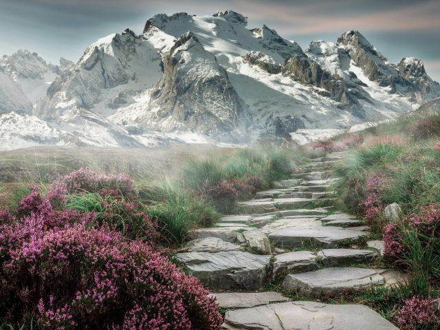 Туман горы дорога небо снег природа