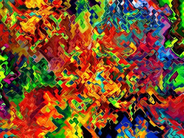 Красочное художественное цифровое искусство радужная абстракция