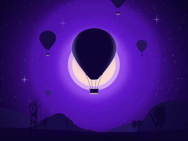 Воздушный шар фиолетовый минимальное искусство