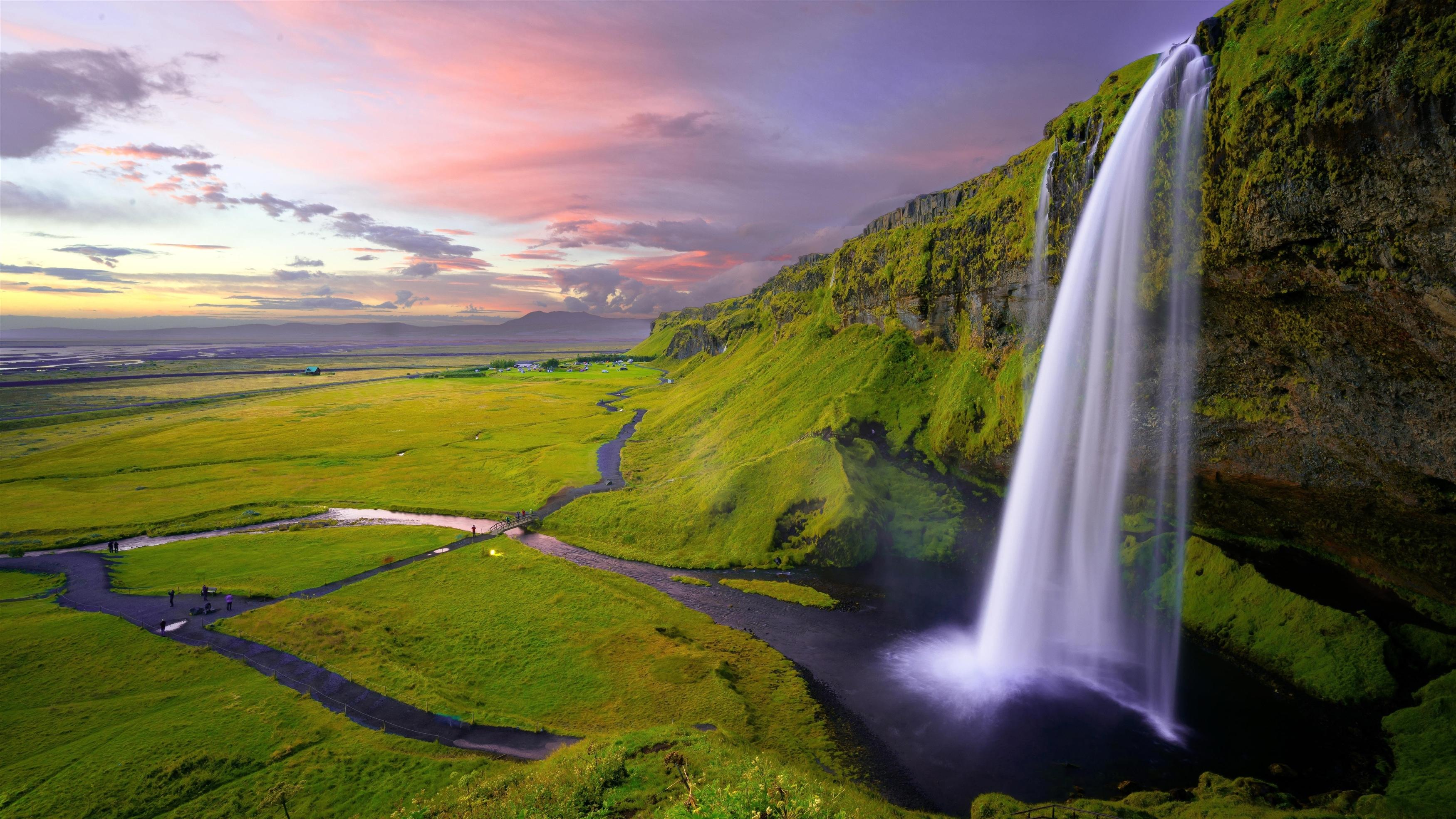 Водопад Сельяландсфосс в Исландии обои скачать