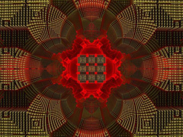 Красные зеленые фрактальные фигуры линии рисунка абстракция абстракция