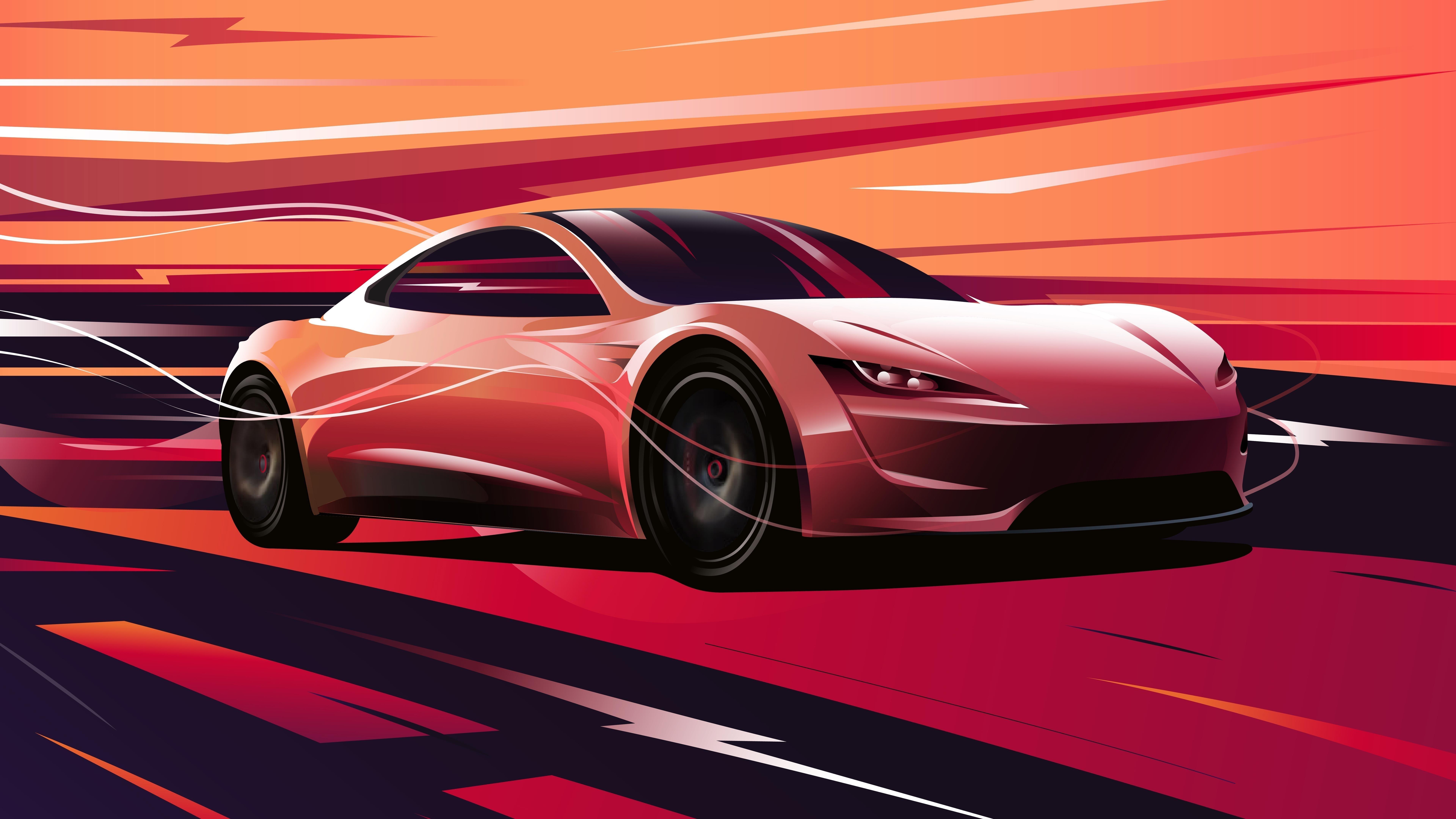 Tesla roadster 2020 обои скачать