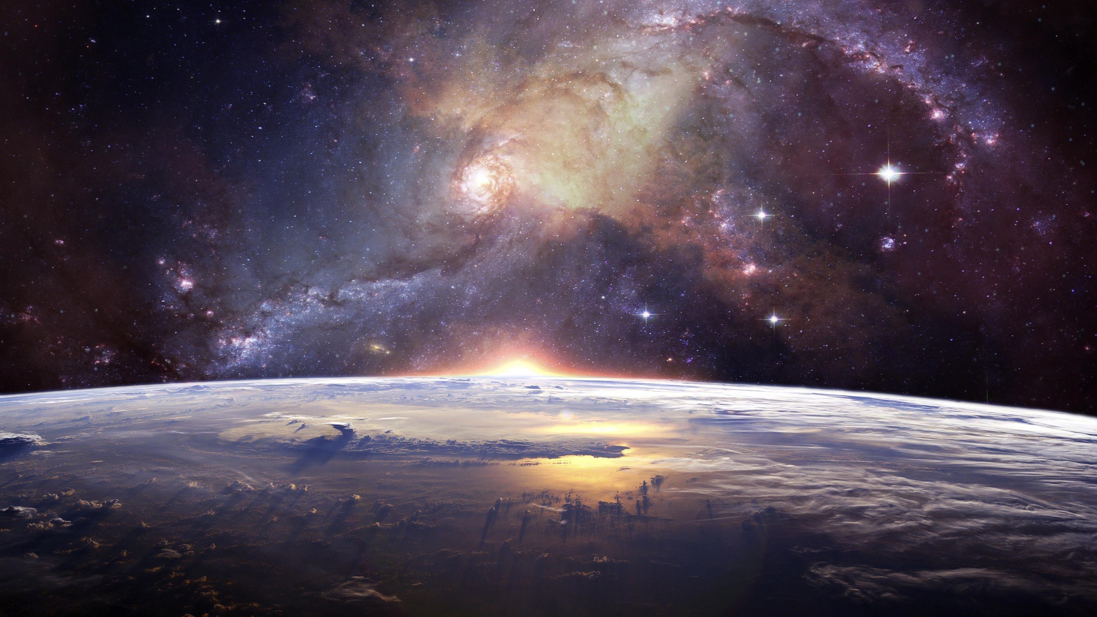 Земной горизонт Млечный Путь обои скачать