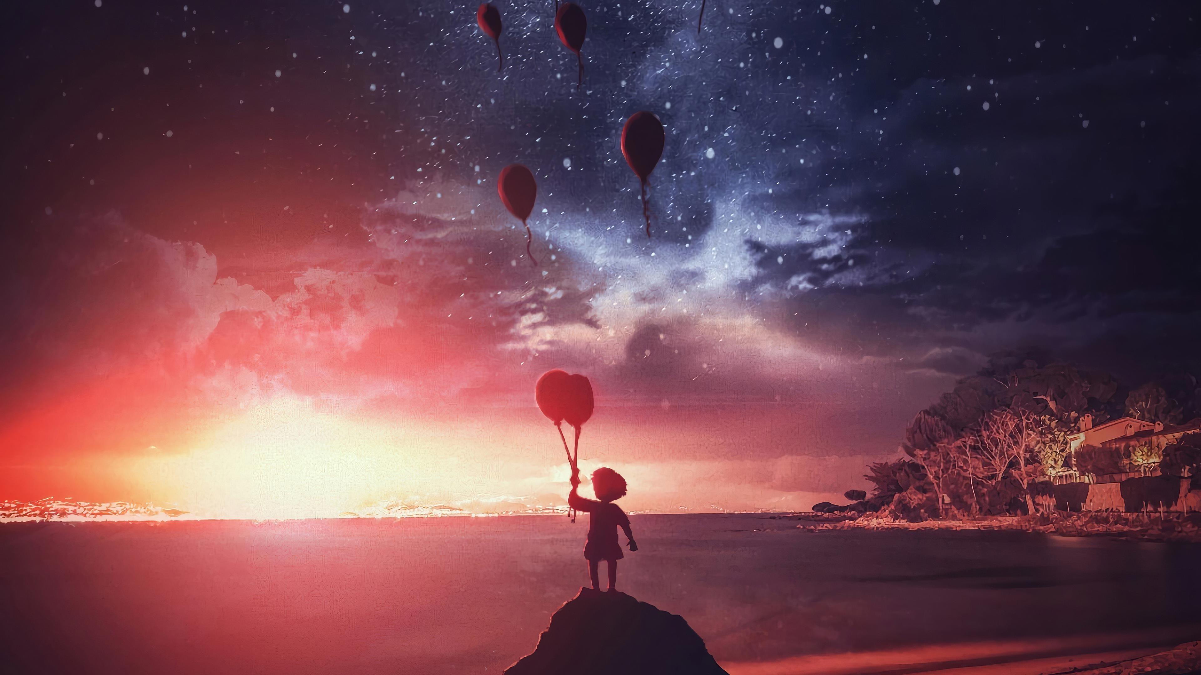 Маленький мальчик воздушные шары обои скачать