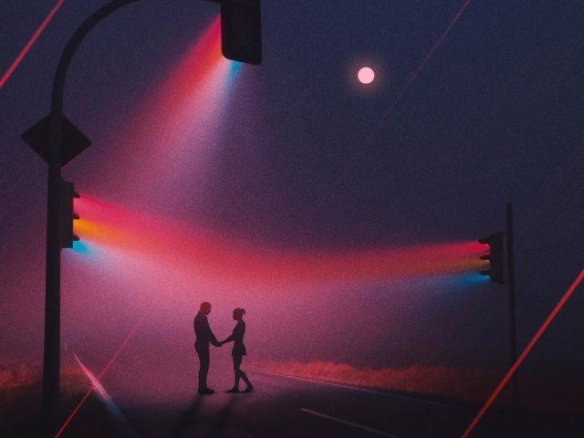 Любовь пара светофоров неоновые работы