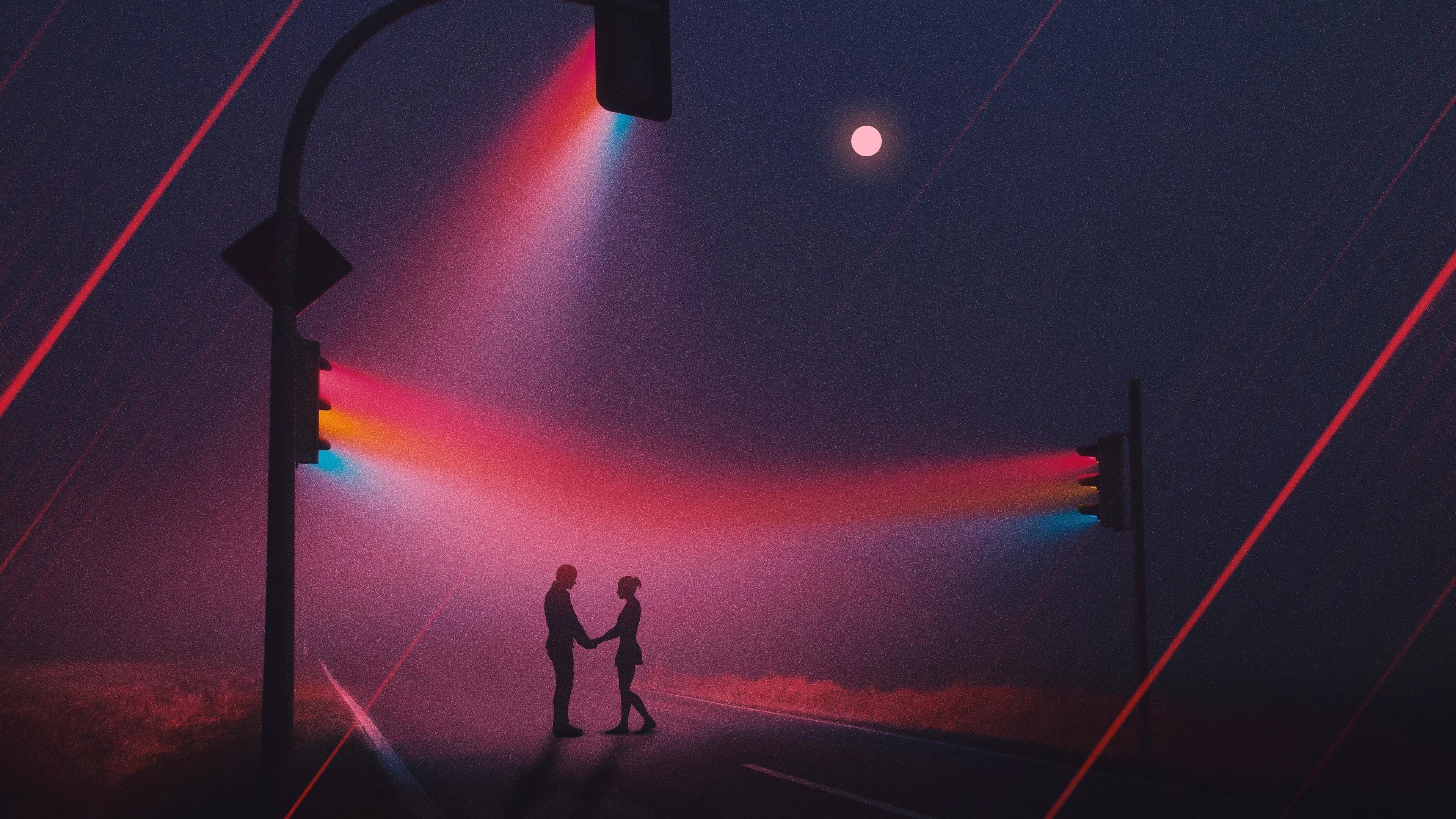 Любовь пара светофоров неоновые работы обои скачать