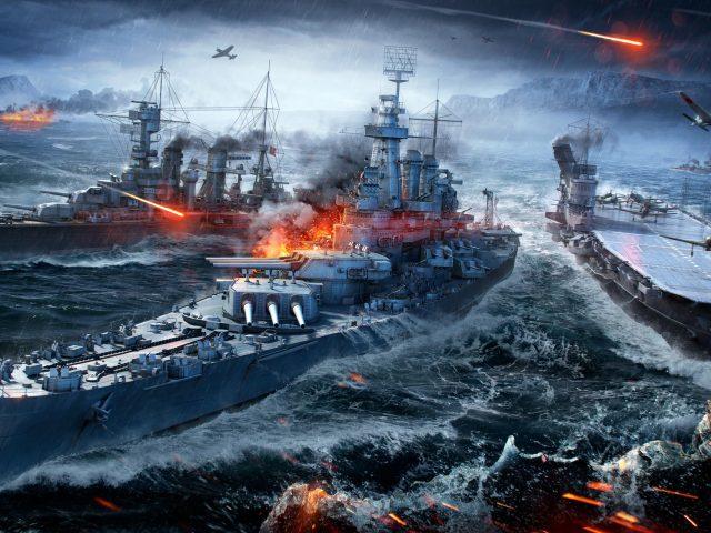 Мир боевых кораблей военно-морских Морской бой