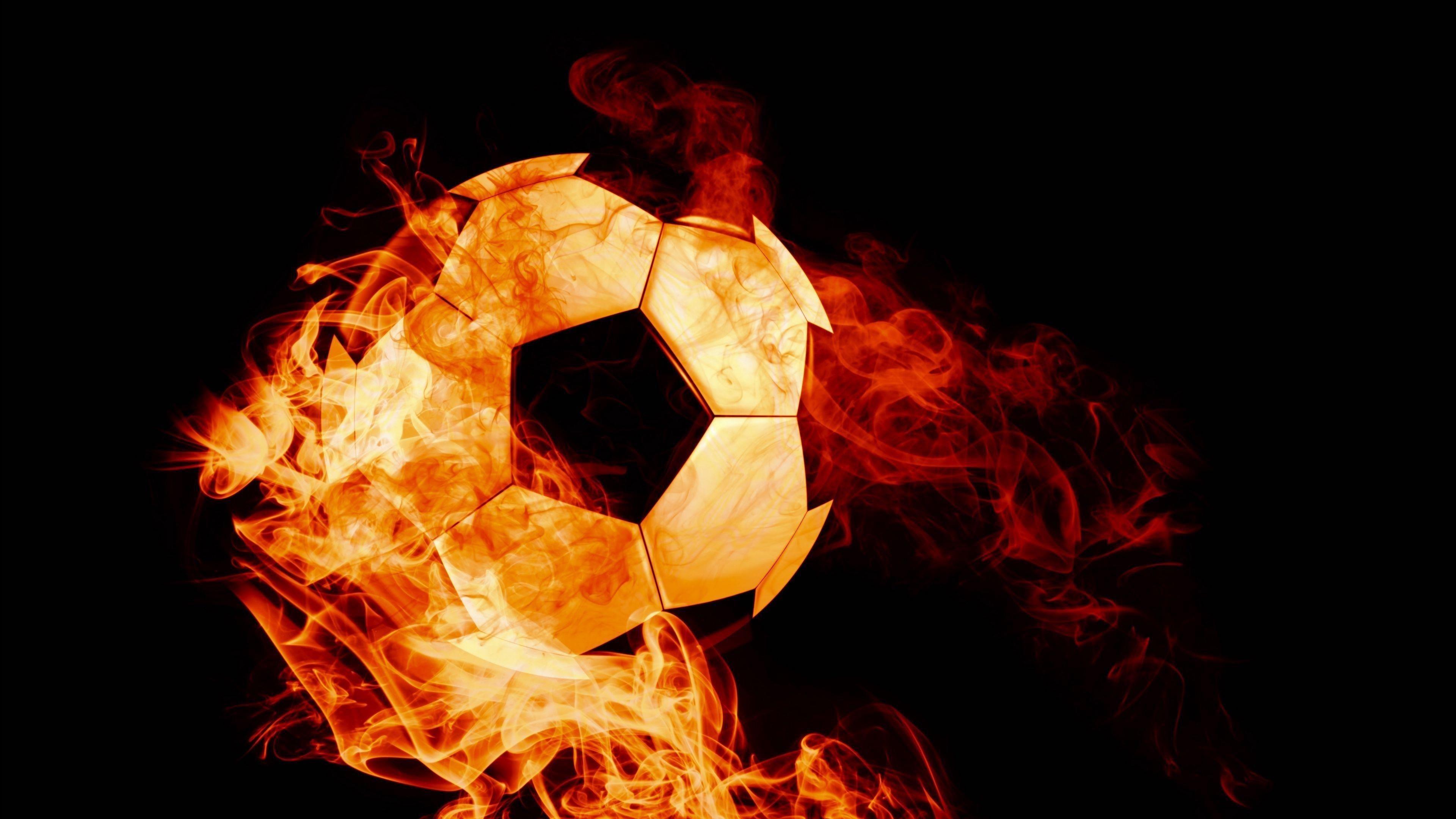 Шар огненный футбол темном фоне пламени обои скачать