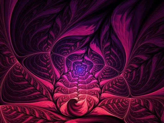 Розово-фиолетовые цветы фрактальные фигуры абстрактный узор