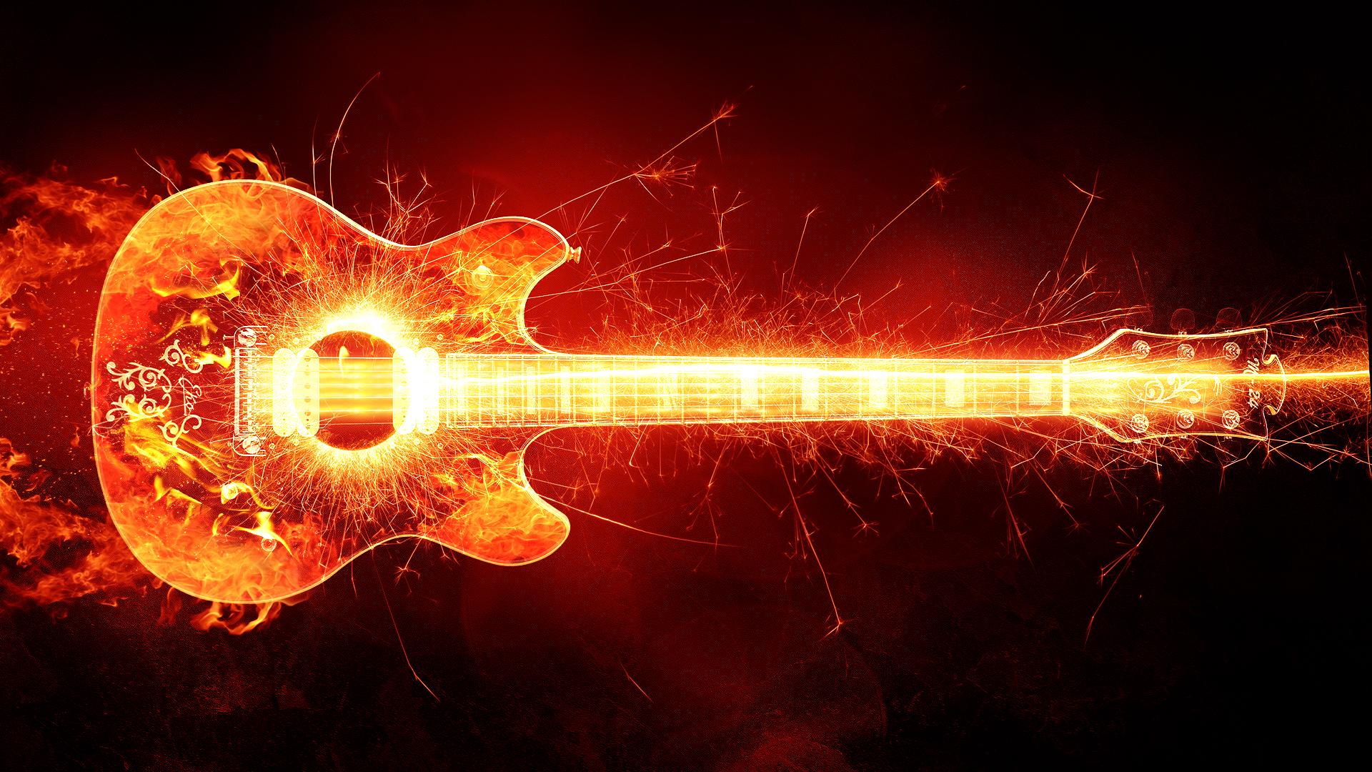 Fire guitar. обои скачать