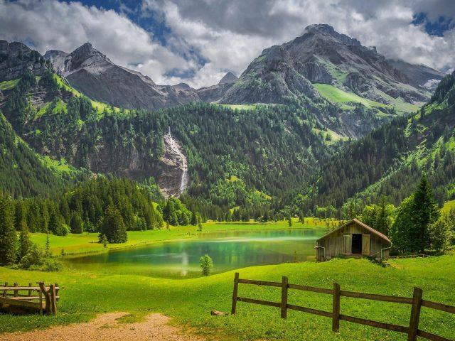 Альпы забор лес озеро Швейцария водопад природа