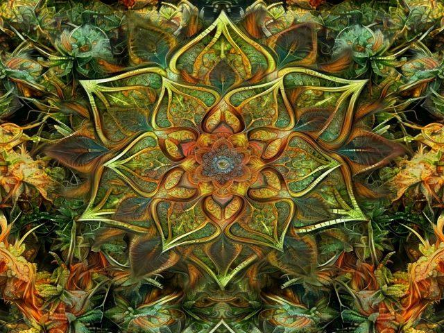 Зелено-коричневая фрактальная мандала абстрактная