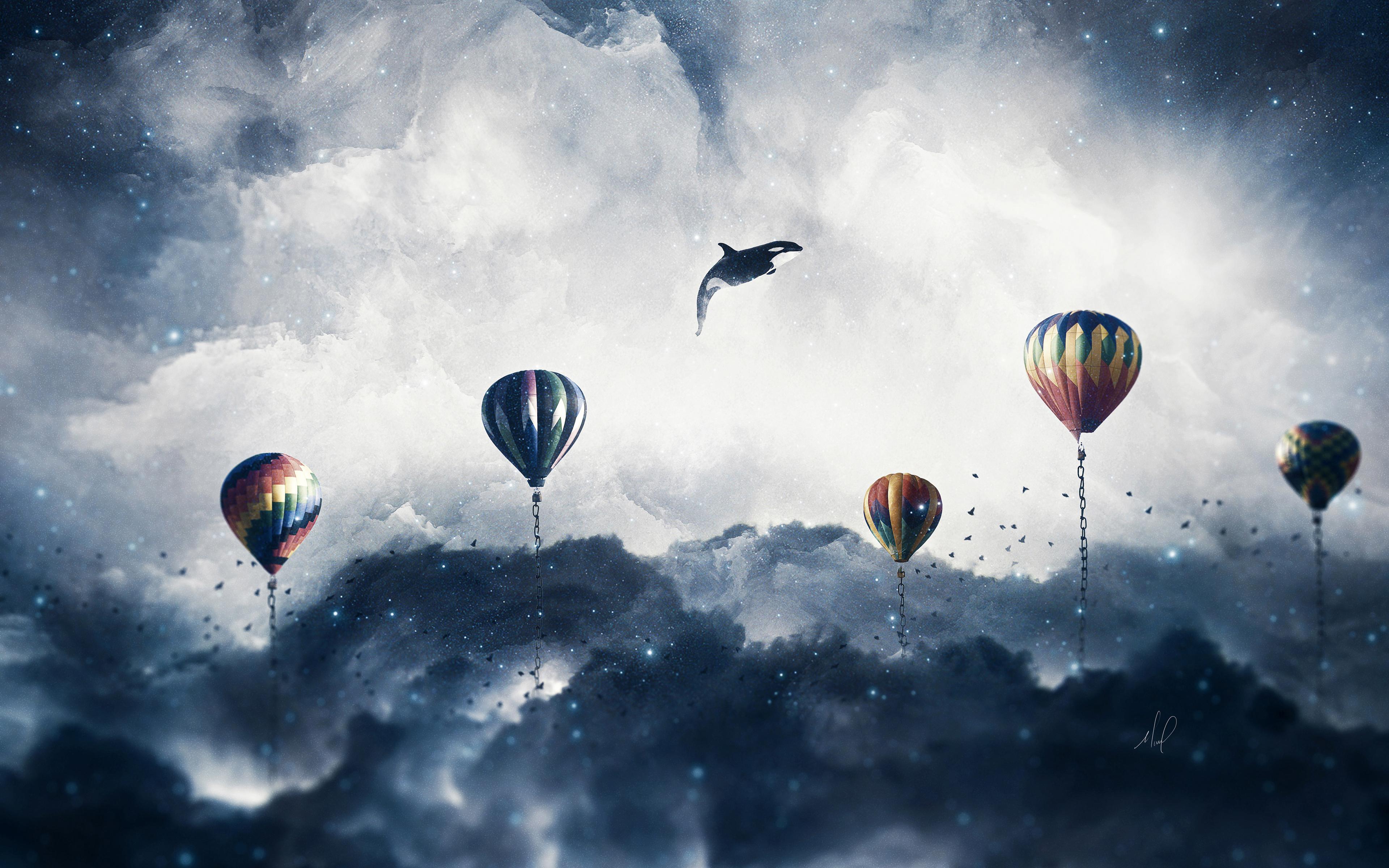 Сюрреалистические воздушные шары обои скачать