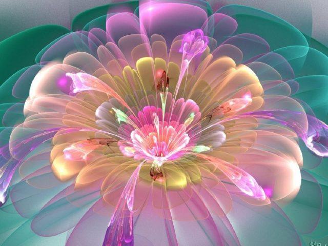 Светло-розовый зеленый синий цветок фрактальное искусство абстракция абстракция